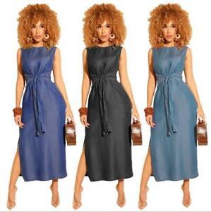 67b7e2b468 Woman Sleeveless Jean dress Solid Color Split Midi dress Bandage ...
