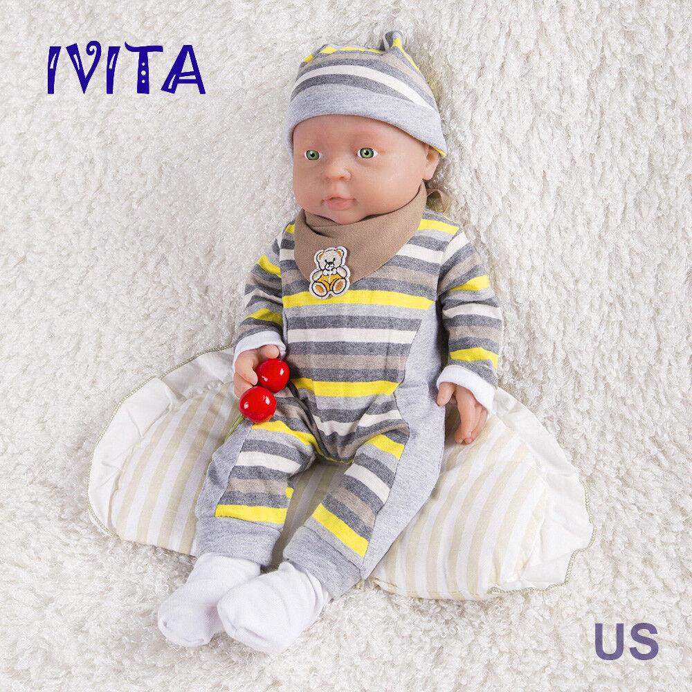 Ivita 16-inch Full in silicone Bambole Reborn Baby Girl 2KG Bambola in Silicone Realistico