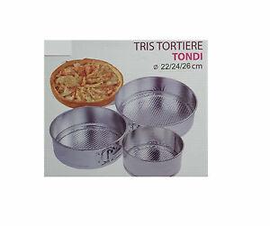TRIS-TORTIERE-DOLCI-TEGLIE-ALLUMINIO-CHIUSURA-A-CERNIERA-TONDE-DIAMETRO-22-24-26