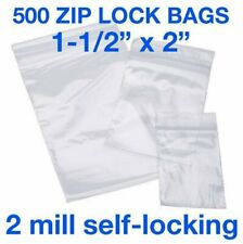 500 Piece 1 12 X 2 2mil Zip Lock Poly Reclosable Plastic Bags Clear Baggies