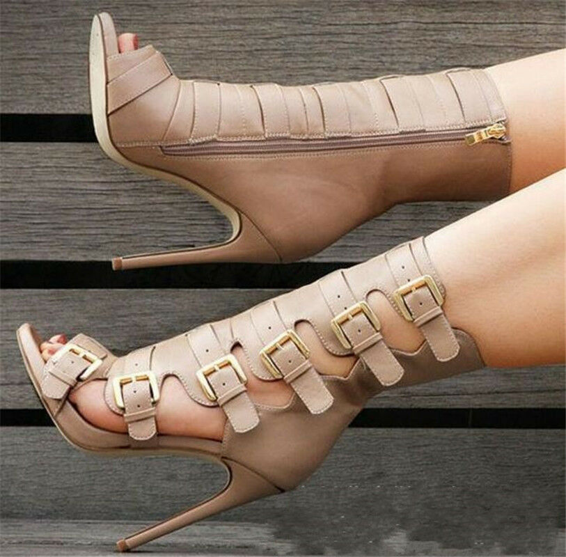 Women's Gladiator Open toe High Stiletto Heels BUckle Strap Sandals Ankle Boots