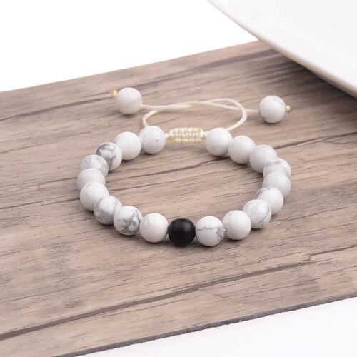 Couple son /& Hers distance tricoté à la main Bracelet Lava Perles Assorties Yinyang Love