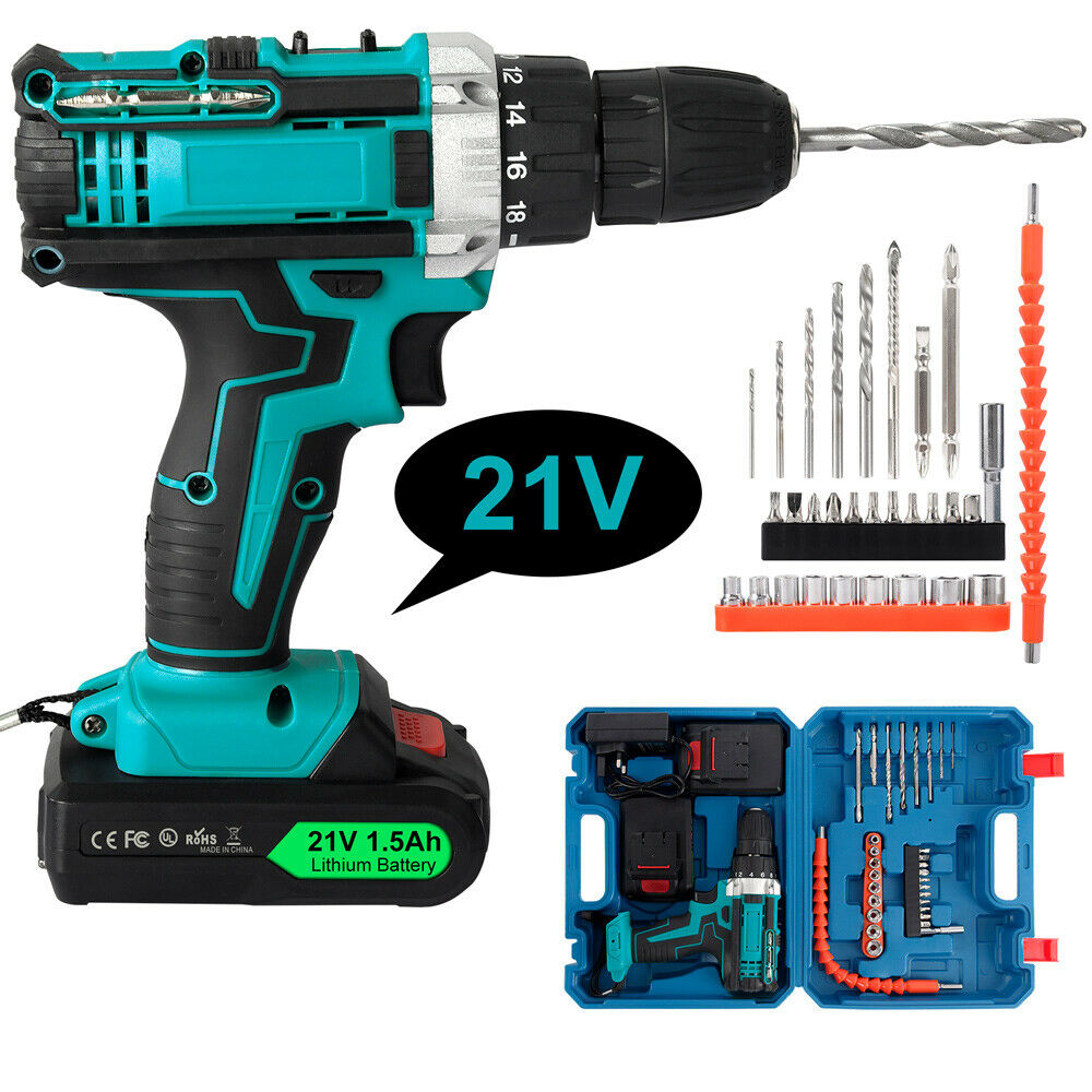 21V Electric Screwdriver Set W/2 Batteries & LED Cordless Hammer Drill Blue USA . Available Now for 39.99