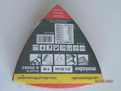 Schiefblätter Haftschleifblätter Metabo 25 93x93mm P 80 OVP NEU