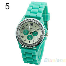 turquoise Ladies Geneva Silicone Jelly Gel Quartz Analog Sports Wrist Watch UK