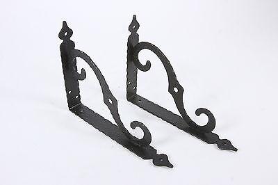 2 Vintage Black Aluminum Corner Brackets Decorative Scrolled Textured Hangers
