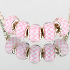 Pink white plaid 5pcs SILVER MURANO bead LAMPWORK For European Charm Bracelet