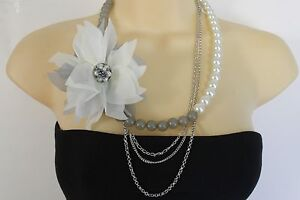 Details zu Neu Damen Halskette Silber Metall Ketten Mode Grau Creme Perlmutt Blume Pin