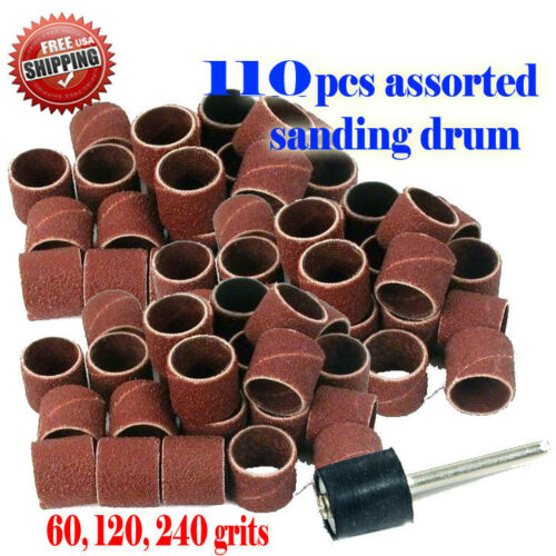 """110 pc Assorted Rotary Tool Sanding Drum 1//2/"""" x 1//2/"""" ForPowerl Foredom 1//8/"""""""