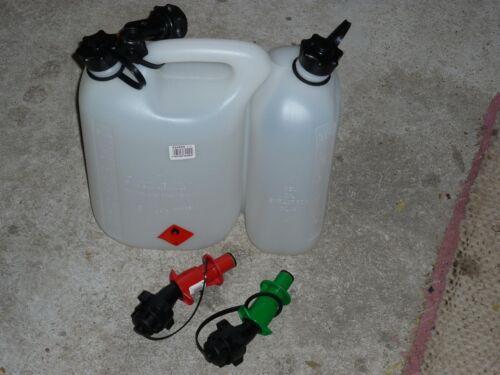 5,5 L Kraftstoff  3 L Kettenöl 2 x Einfüllsystem Doppelkanister f Ausgießer