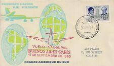LETTRE PREMIER VOL AIR FRANCE BUENOS AIRES POUR PARIS 1960