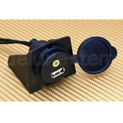 Car Dashboard Flush Mount USB 3.5mm 1/8 AUX Extension Cable Lead Mounting Panel