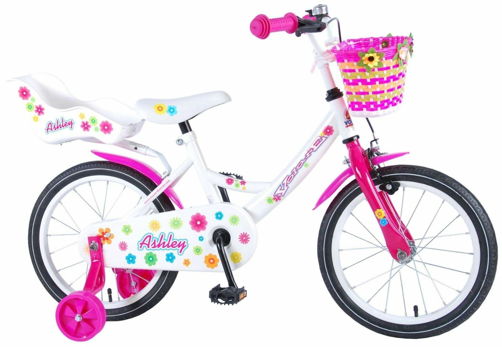 16 Zoll Fahrrad Rücktritt Stützräder Korb Kinderfahrrad Mädchen Blümchen 81604