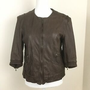 Cole-Haan-Womens-Leather-Jacket-Brown-Lambskin-Short-Sleeves-Zip-Up-Size-XL
