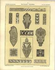 1880 Savage Tribes : Primitive Form Frets Flowing Zigzag Lines