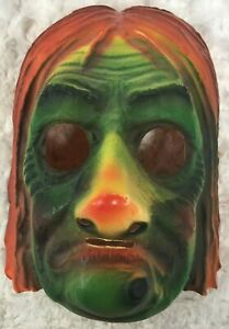 Vintage-Halloween-Witch-Plastic-Vacuform-Mask-Green-Orange-Creepy-Elastic-Band