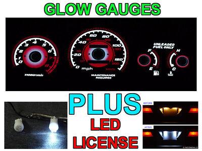 Ex Auto Gauge Face Overlay Type R Red Glow 96-00 Honda Civic EK Lx