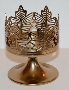 Bath-amp-Body-Works-Gold-Pedestal-Maple-Leaf-3-Wick-Candle-Sleeve-holder-NEW