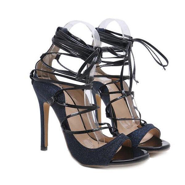 Sandali stiletto eleganti tacco 12 cm noir lacci pelle sintetica eleganti 1152