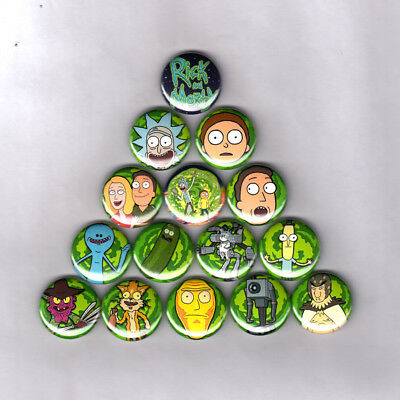 4 Pack Rick and Morty 1 Pin Back Buttons