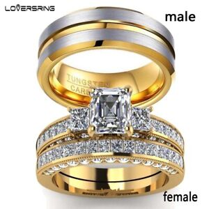 sz6-12-Couple-Rings-Tungsten-Mens-Ring-Yellow-Gold-Filled-Women-039-s-Wedding-Ring