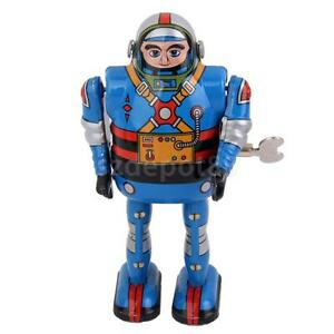 Blue Wind Up walking Robot Astronaut Tin Toy clockwork mechanical Vintage