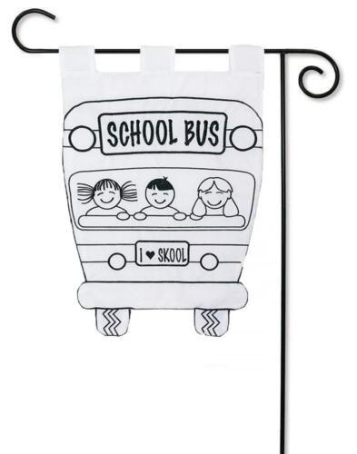 "School Bus Applique Garden Flag /""Color Me/"" Back To School Children 12.5/"" x 18/"""