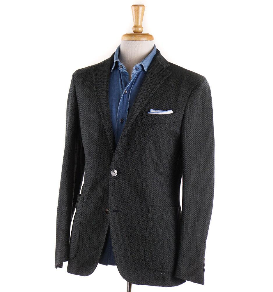 NWT 1250 BOGLIOLI Grün and Navy Knit Pattern Cotton Sport Coat 38 R (Eu 48)