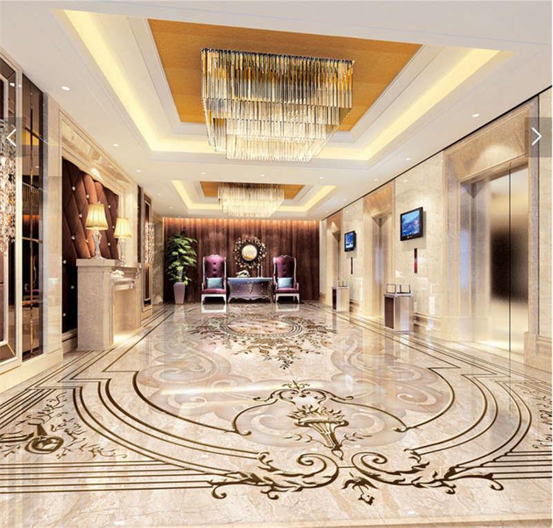Luxus Exquisite Skulptur 3D Fußboden Wandgemälde Foto Bodenbelag Tapete Zuhause