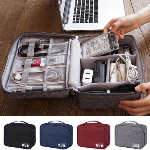 Electronics Accessories Organizer Travel Storage Hand Bag Cable USB Drive Cas UP