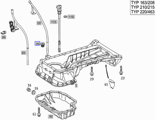 Mercedes Jauge Guide Tube Tuyau Joint Oeillet Gasket A1120160000