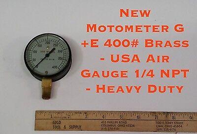 Motometer G+E 400#  Brass USA Air Gauge 1//4 NPT Heavy Duty NEW