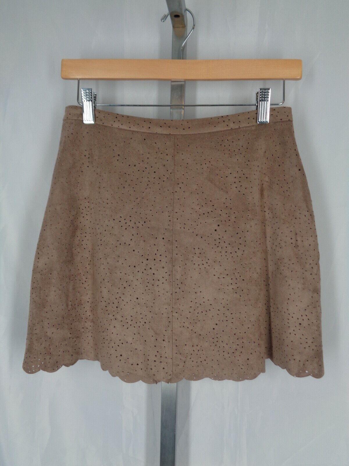 BCBG MaxAzria Skirt Size Small Faux Suede Sheryl Mocha Mini Above Knee New