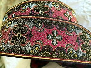 Vintage-1900s-Jacquard-Metallic-SILK-1-7-8-034-Embroidered-Ribbon-1y-Made-in-France