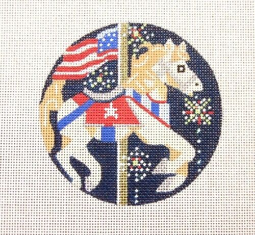 Melissa Prince Designs 4th of July Carousel Horse Handpainted Needlepoint Canvas