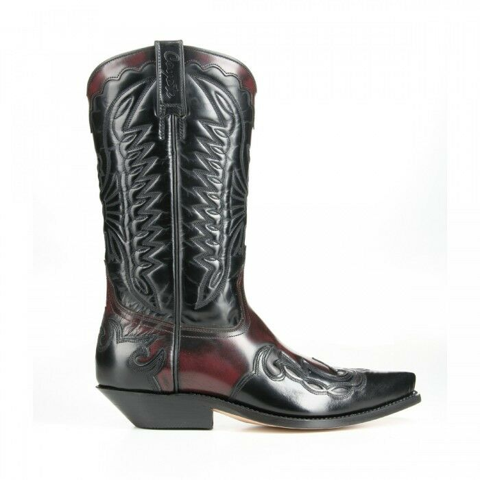 mezcalero bottes de cow - boy flammes noirs (vin rouge main bordeaux fait main rouge du cuir b3d62b