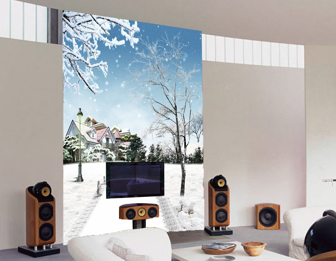 3D Snowing Branches House Paper Wall Print Wall Decal Wall Deco Indoor Murals