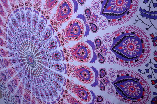 White Hippie Mandala Tapestry Throw Indian Wall Hanging Bedspread Bohemian Decor