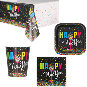 Happy New Years Eve Colourful Confetti Tableware Tablecover Plates Cups Napkins