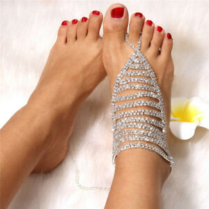 Crystal-Anklets-Chain-Bracelet-Women-Barefoot-Sandal-Toe-Ring-Beach-Foot-Jewelry