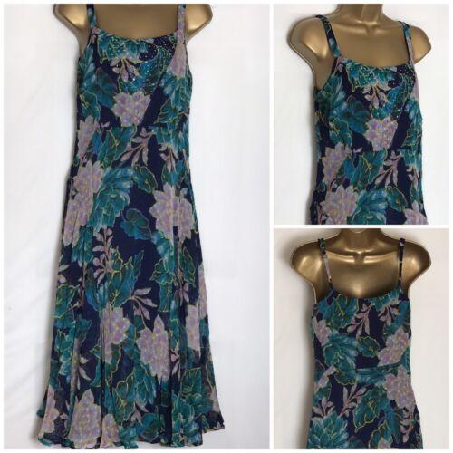 pu-101h Per Una @ M/&S Blue Green Mix Chiffon Strappy Lined Summer Dress 6-22