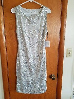 Calvin Klein Silver Grey Sequin Lace Womens Size 8 Sheath