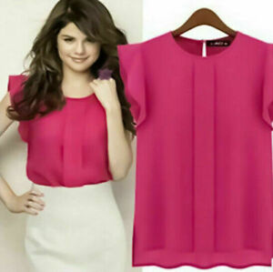 New-Women-039-s-Summer-Flutter-Sleeve-Casual-Chiffon-Shirt-Tops-Vest-Blouse-T-Shirt