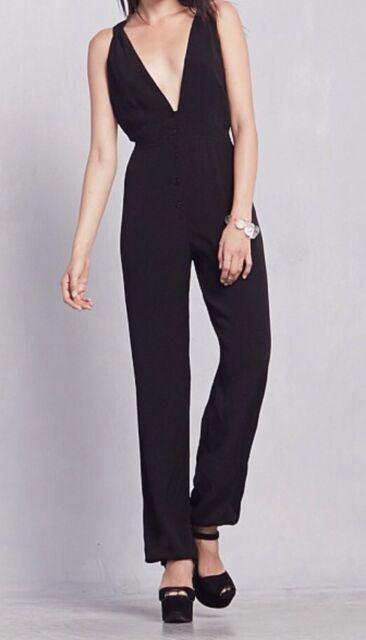 NWT $248 Reformation Selma Plunging Jumpsuit Size Medium Black