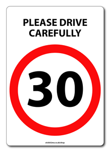 SPEED LIMIT 20//30//40//50 MPH DRIVE CAREFULLY WHEELIE BIN STICKER