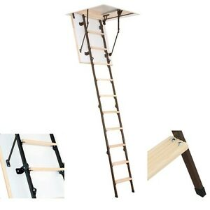 Details About 60cm X 80cm Mini 4 Section Folding Wood Metal Loft Ladder