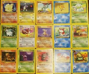 Pokemon-Original-Base-Jungle-Fossil-15-Card-lot-ABC