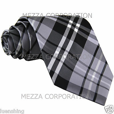 "New Men/'s Vesuvio Napoli plaid 2.5/"" skinny Neck Tie Necktie only Party Prom Gray"
