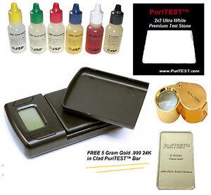 6 Gold Testing Acid Jewelry Kit w/ Stone w/ Digital Scale Test 10k 14k 18k 22k