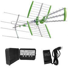 KIT ANTENNA DIGITALE TERRESTRE DTT COMBO UHF VHF AMPLIFICATORE 32dB ALIMENTATORE